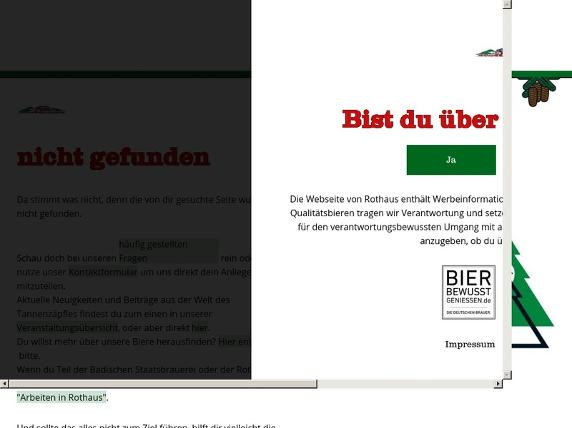 Screenshot von http://rothaus.de/de/altersabfrage